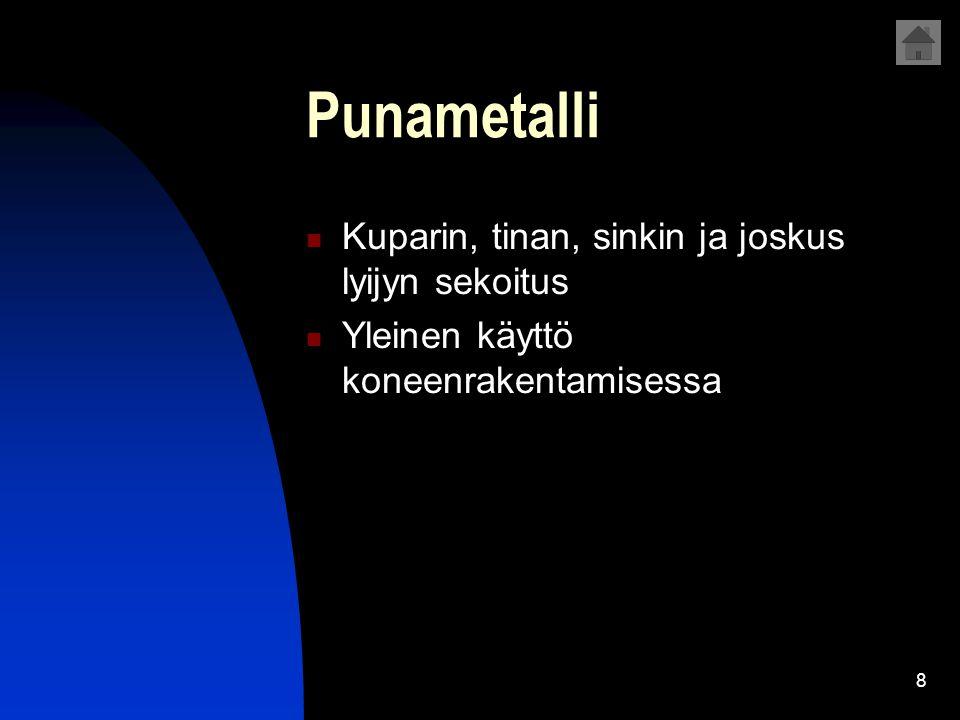 Punametalli Kuparin, tinan, sinkin ja joskus lyijyn sekoitus