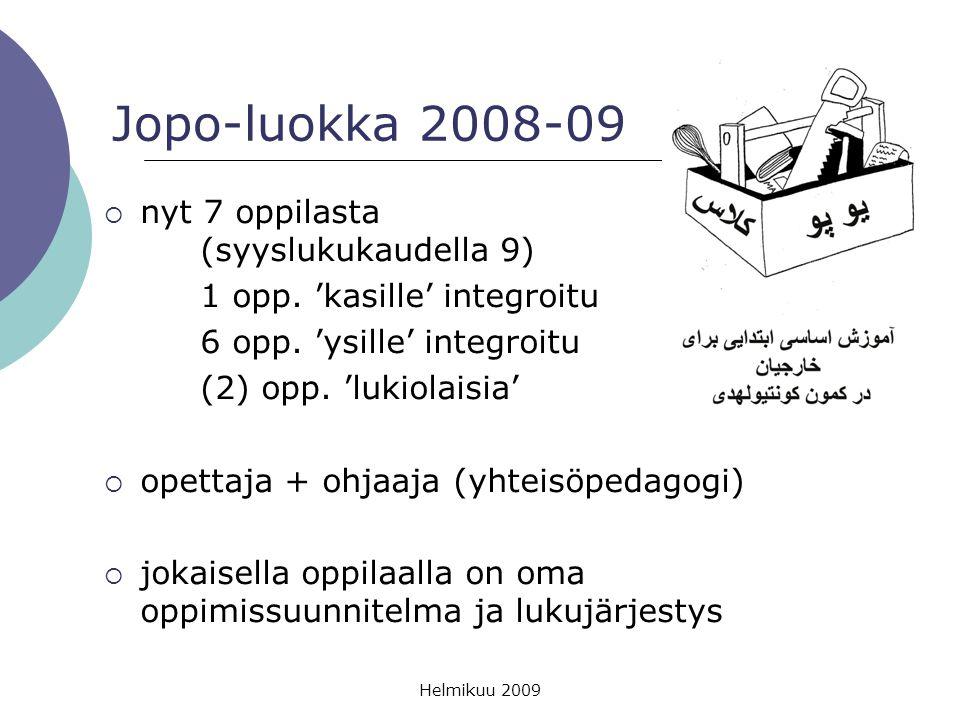 Jopo-luokka 2008-09 nyt 7 oppilasta (syyslukukaudella 9)