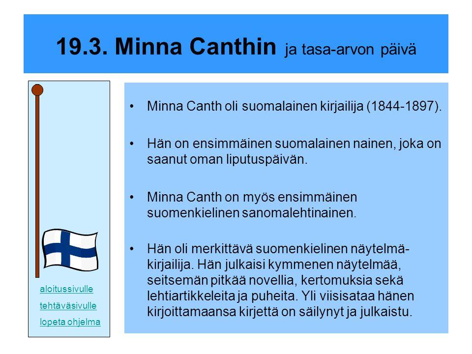 19.3. Minna Canthin ja tasa-arvon päivä
