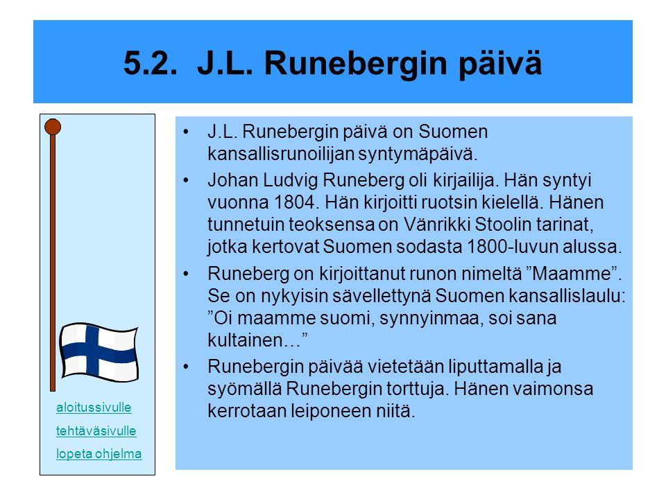 5.2. J.L. Runebergin päivä J.L. Runebergin päivä on Suomen kansallisrunoilijan syntymäpäivä.