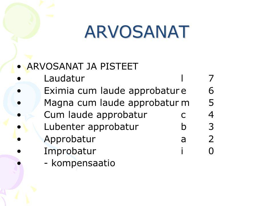 ARVOSANAT ARVOSANAT JA PISTEET Laudatur l 7
