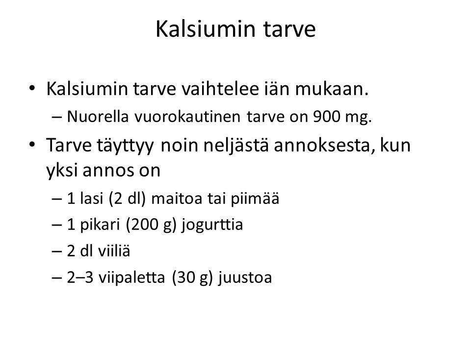Kalsiumin tarve Kalsiumin tarve vaihtelee iän mukaan.