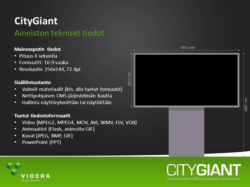 CityGiant Aineiston tekniset tiedot Mainosspotin tiedot