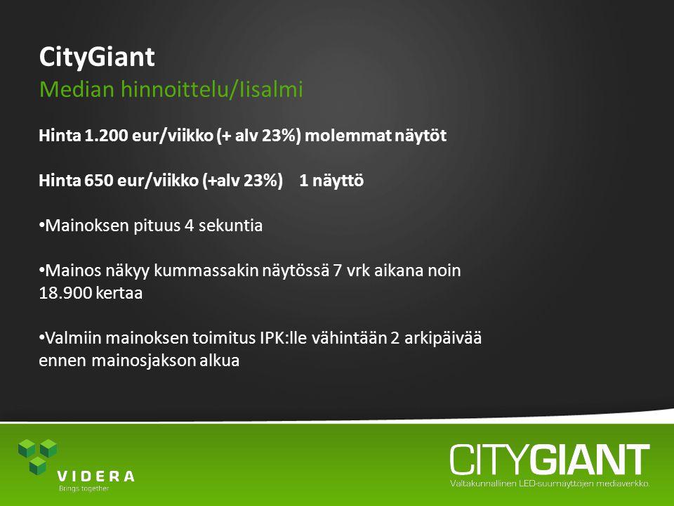 CityGiant Median hinnoittelu/Iisalmi