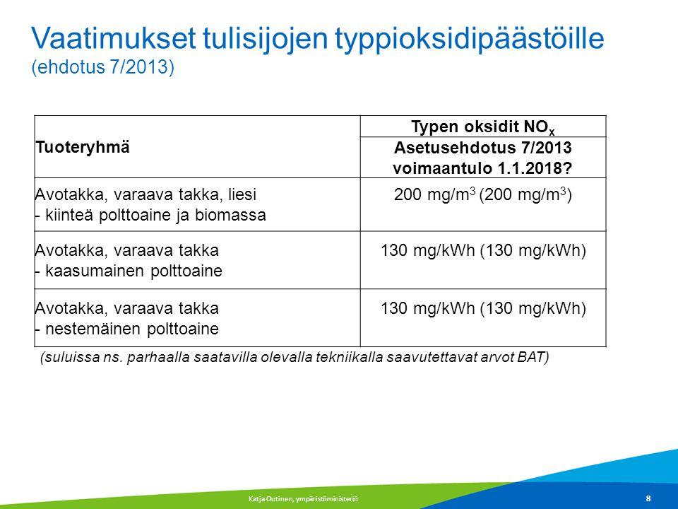 Asetusehdotus 7/2013 voimaantulo 1.1.2018
