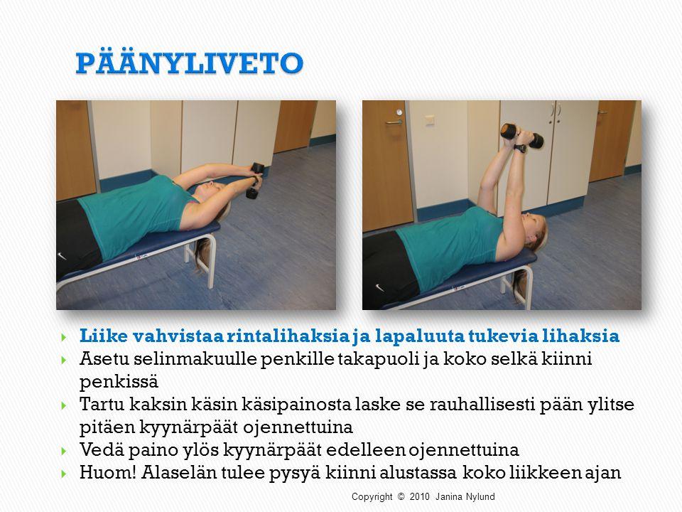 PÄÄNYLIVETO Liike vahvistaa rintalihaksia ja lapaluuta tukevia lihaksia. Asetu selinmakuulle penkille takapuoli ja koko selkä kiinni penkissä.