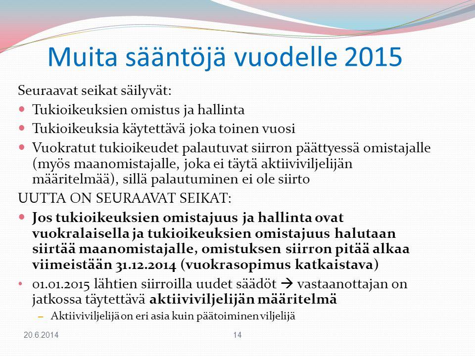 Muita sääntöjä vuodelle 2015