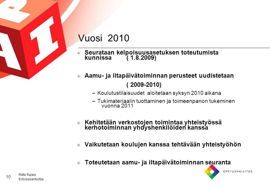Vuosi 2010 Seurataan kelpoisuusasetuksen toteutumista kunnissa ( 1.8.2009) Aamu- ja iltapäivätoiminnan perusteet uudistetaan.