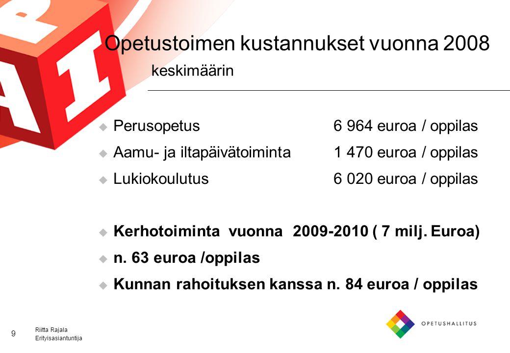 Opetustoimen kustannukset vuonna 2008 keskimäärin