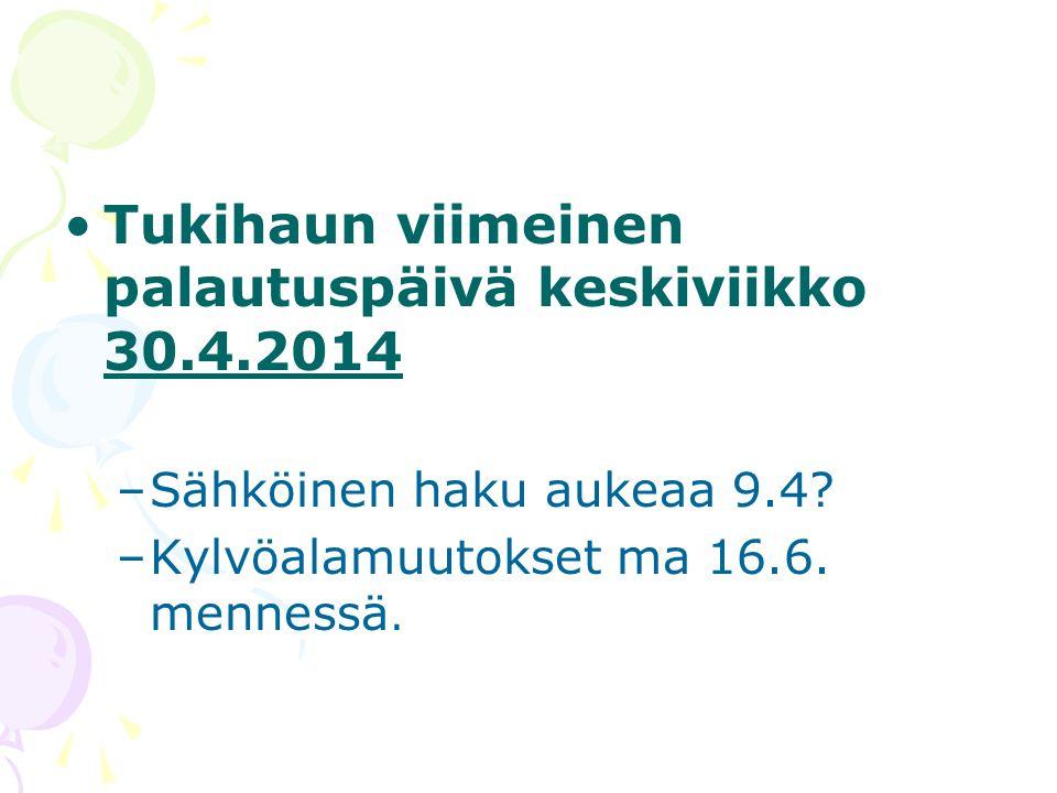 Tukihaun viimeinen palautuspäivä keskiviikko 30.4.2014