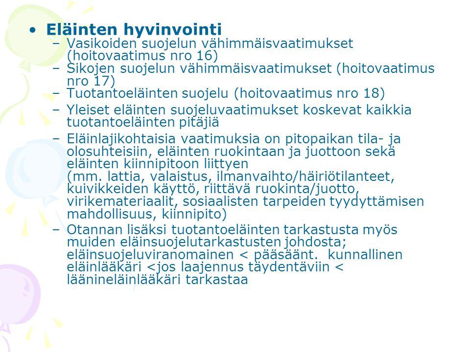 Eläinten hyvinvointi Vasikoiden suojelun vähimmäisvaatimukset (hoitovaatimus nro 16) Sikojen suojelun vähimmäisvaatimukset (hoitovaatimus nro 17)