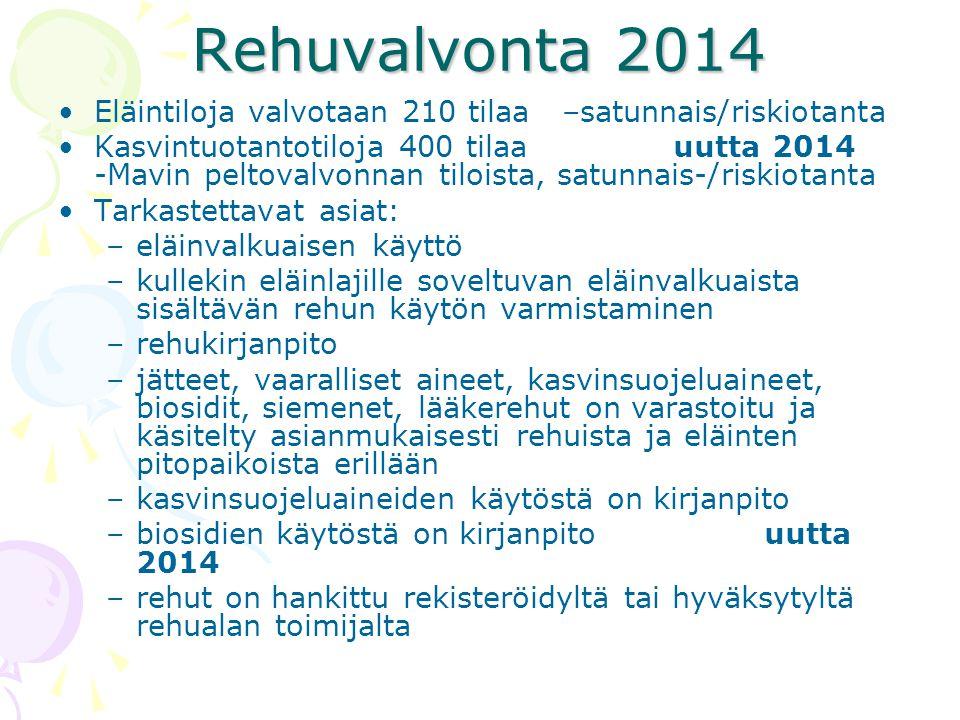 Rehuvalvonta 2014 Eläintiloja valvotaan 210 tilaa –satunnais/riskiotanta.