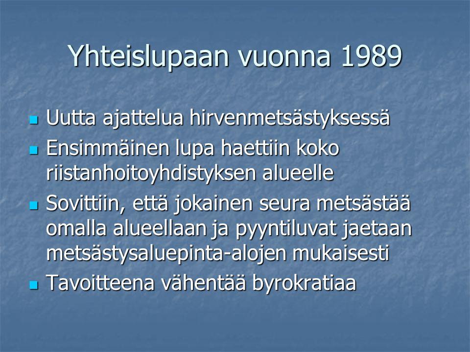 Yhteislupaan vuonna 1989 Uutta ajattelua hirvenmetsästyksessä