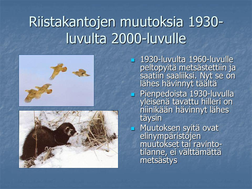 Riistakantojen muutoksia 1930-luvulta 2000-luvulle