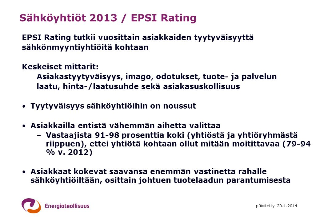 Sähköyhtiöt 2013 / EPSI Rating