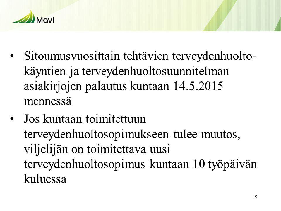 Sitoumusvuosittain tehtävien terveydenhuolto-käyntien ja terveydenhuoltosuunnitelman asiakirjojen palautus kuntaan 14.5.2015 mennessä