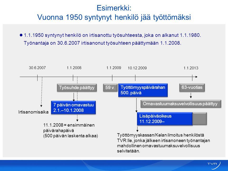 Esimerkki: Vuonna 1950 syntynyt henkilö jää työttömäksi