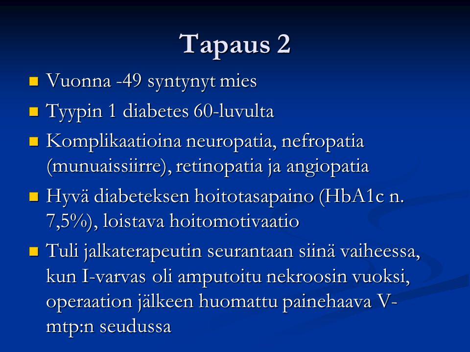 Tapaus 2 Vuonna -49 syntynyt mies Tyypin 1 diabetes 60-luvulta