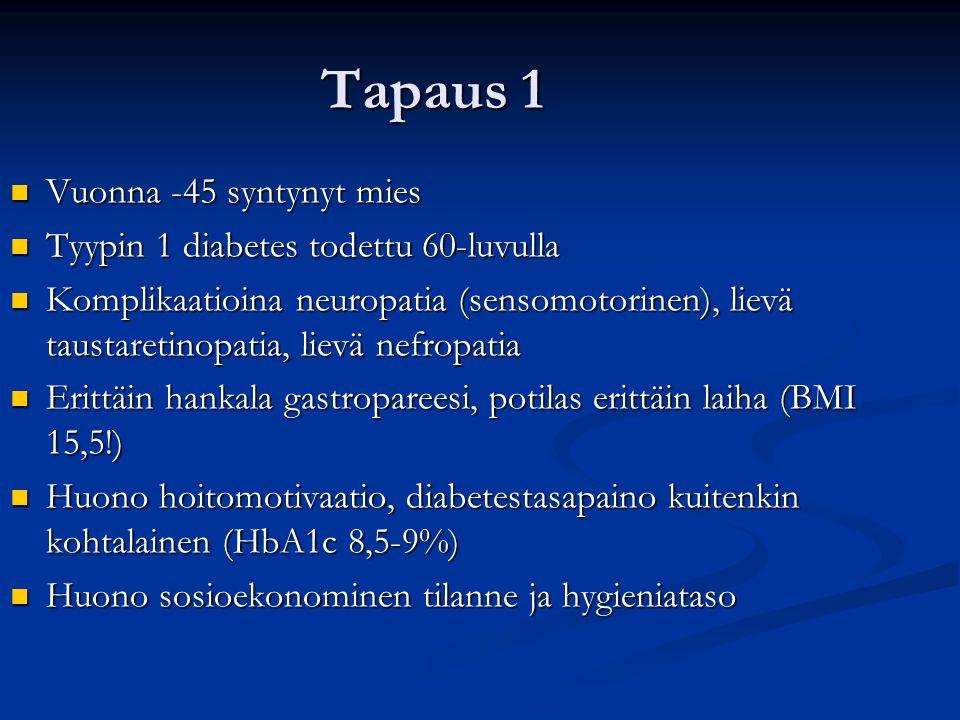 Tapaus 1 Vuonna -45 syntynyt mies Tyypin 1 diabetes todettu 60-luvulla