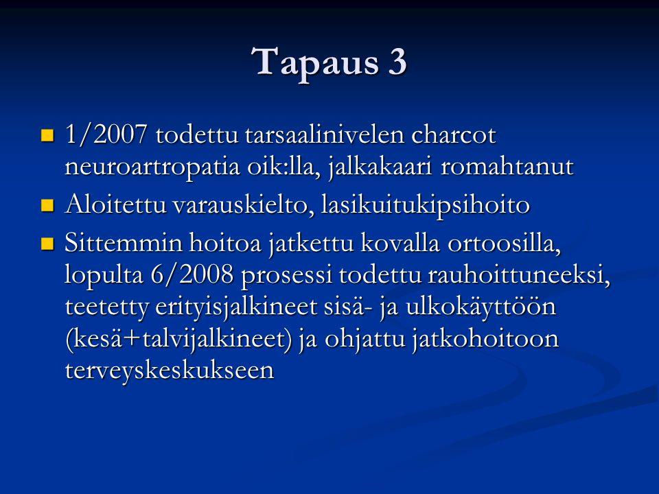Tapaus 3 1/2007 todettu tarsaalinivelen charcot neuroartropatia oik:lla, jalkakaari romahtanut. Aloitettu varauskielto, lasikuitukipsihoito.