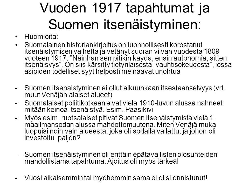 Vuoden 1917 tapahtumat ja Suomen itsenäistyminen: