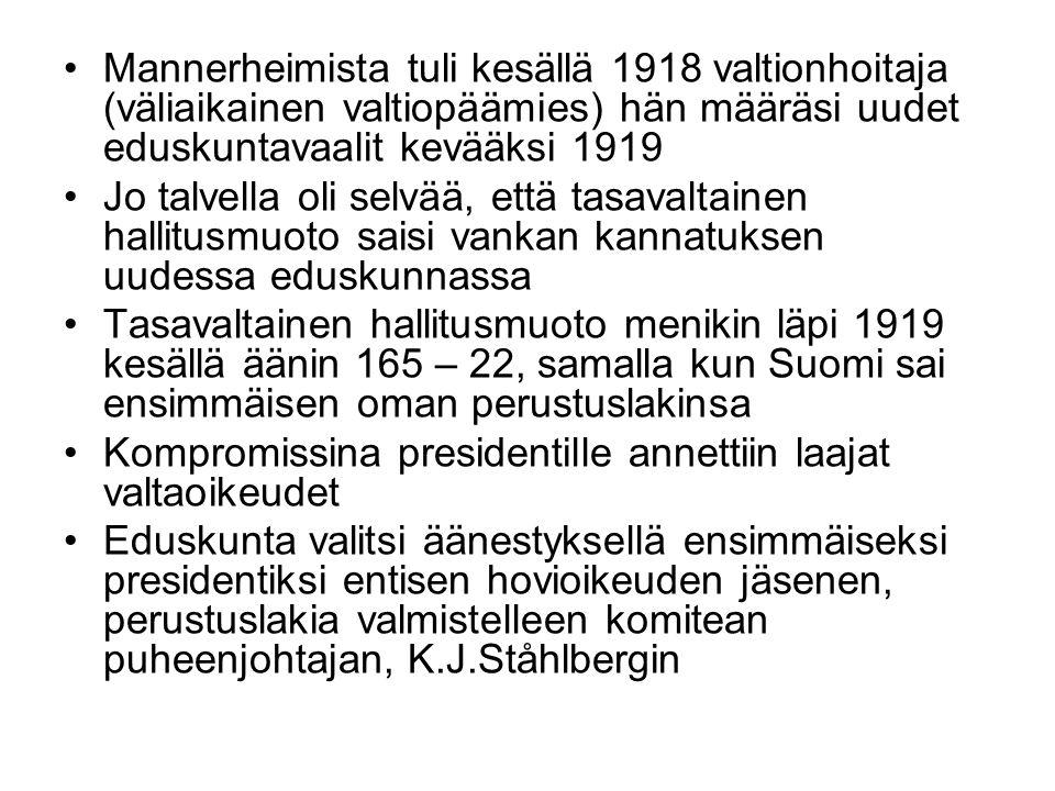 Mannerheimista tuli kesällä 1918 valtionhoitaja (väliaikainen valtiopäämies) hän määräsi uudet eduskuntavaalit kevääksi 1919