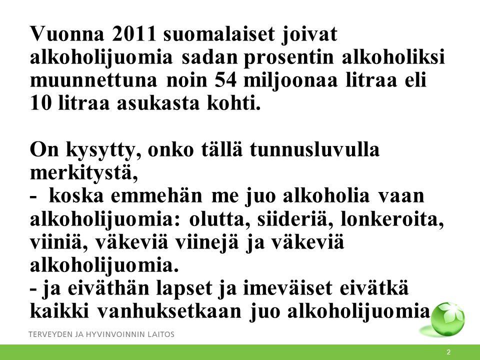 Vuonna 2011 suomalaiset joivat alkoholijuomia sadan prosentin alkoholiksi muunnettuna noin 54 miljoonaa litraa eli 10 litraa asukasta kohti.