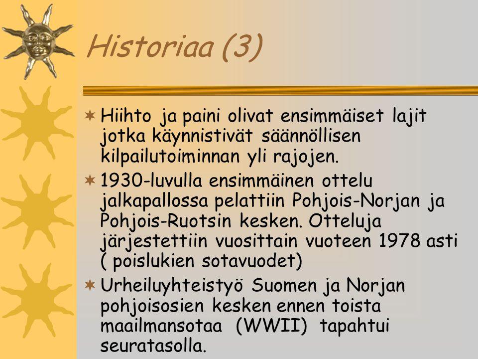 Historiaa (3) Hiihto ja paini olivat ensimmäiset lajit jotka käynnistivät säännöllisen kilpailutoiminnan yli rajojen.