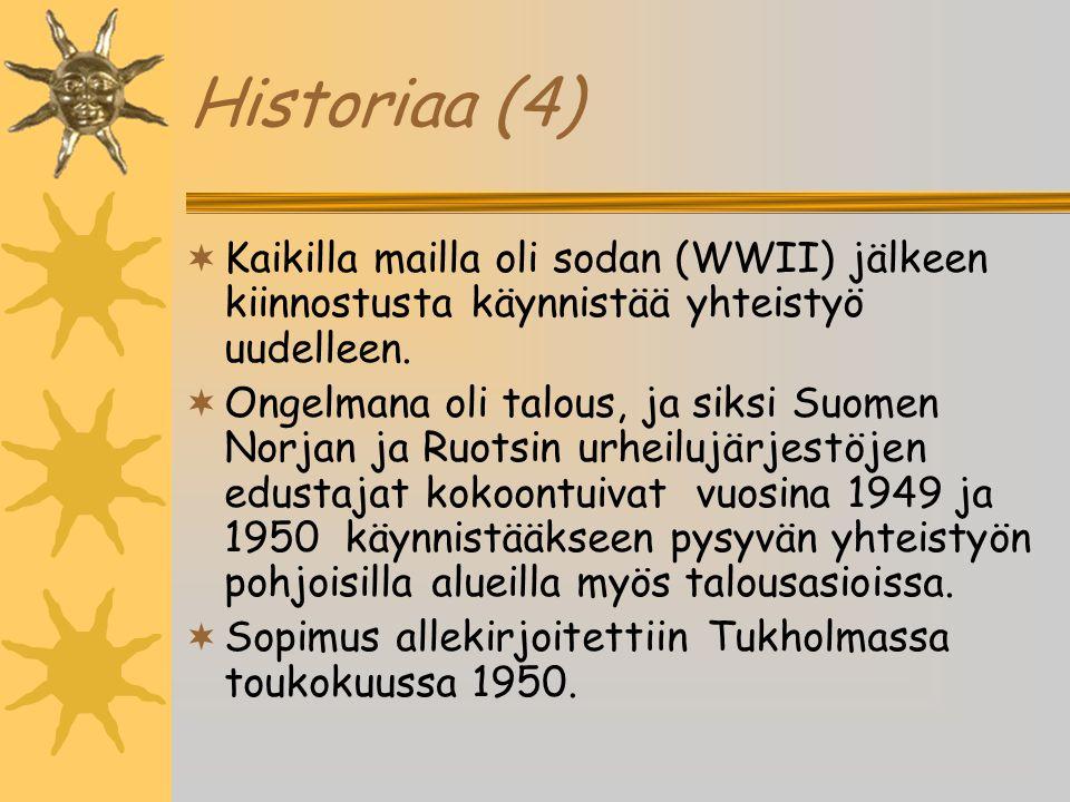 Historiaa (4) Kaikilla mailla oli sodan (WWII) jälkeen kiinnostusta käynnistää yhteistyö uudelleen.