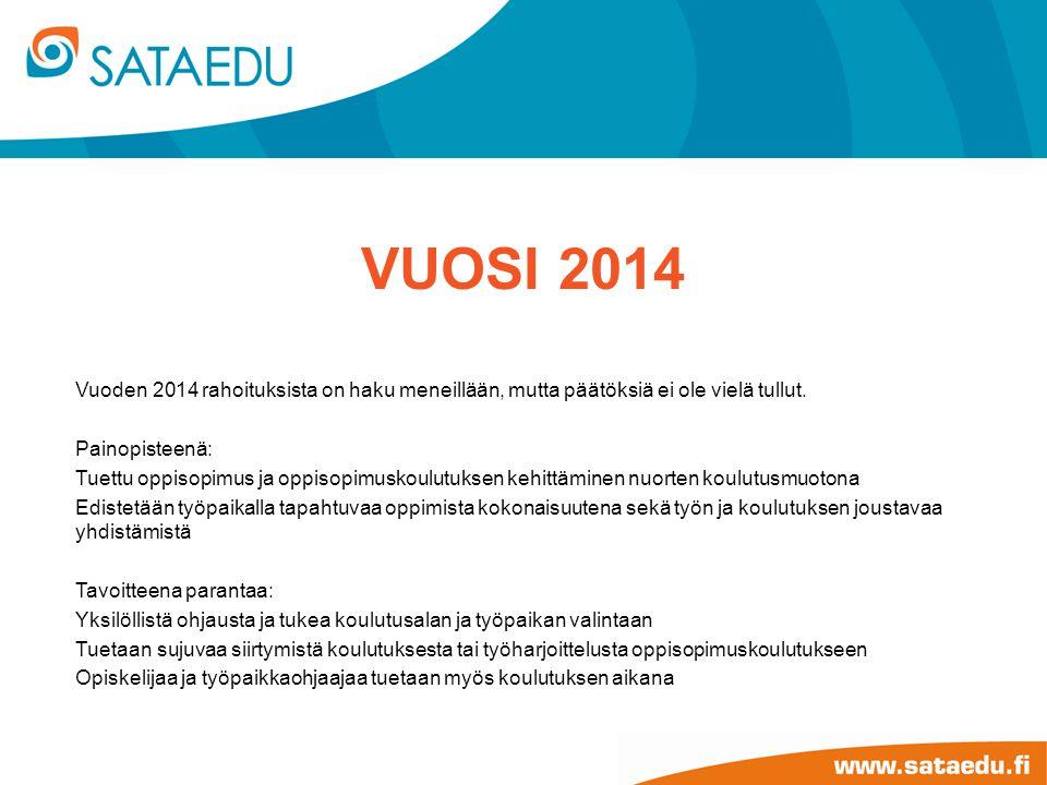 Vuosi 2014 Vuoden 2014 rahoituksista on haku meneillään, mutta päätöksiä ei ole vielä tullut. Painopisteenä: