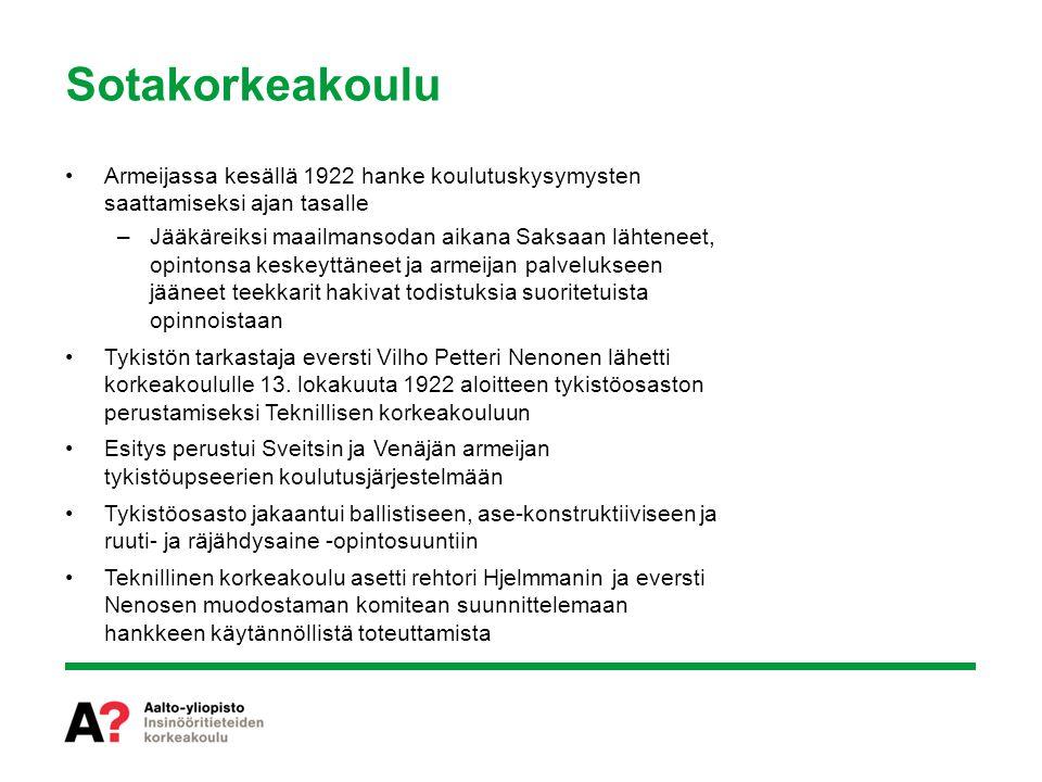 Sotakorkeakoulu Armeijassa kesällä 1922 hanke koulutuskysymysten saattamiseksi ajan tasalle.