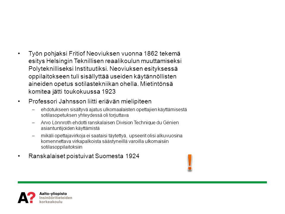 Työn pohjaksi Fritiof Neoviuksen vuonna 1862 tekemä esitys Helsingin Teknillisen reaalikoulun muuttamiseksi Polyteknilliseksi Instituutiksi. Neoviuksen esityksessä oppilaitokseen tuli sisällyttää useiden käytännöllisten aineiden opetus sotilastekniikan ohella. Mietintönsä komitea jätti toukokuussa 1923