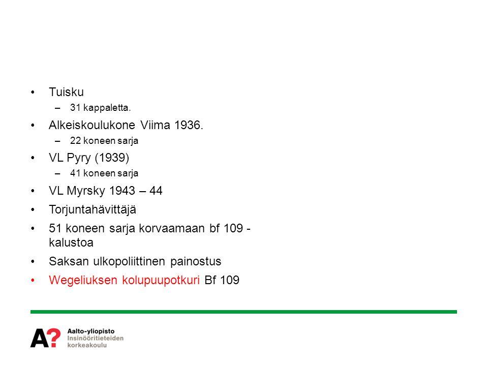 Alkeiskoulukone Viima 1936. VL Pyry (1939) VL Myrsky 1943 – 44