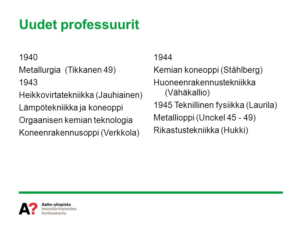 Uudet professuurit