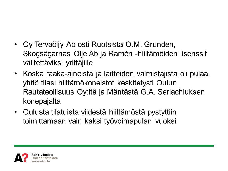 Oy Tervaöljy Ab osti Ruotsista O. M