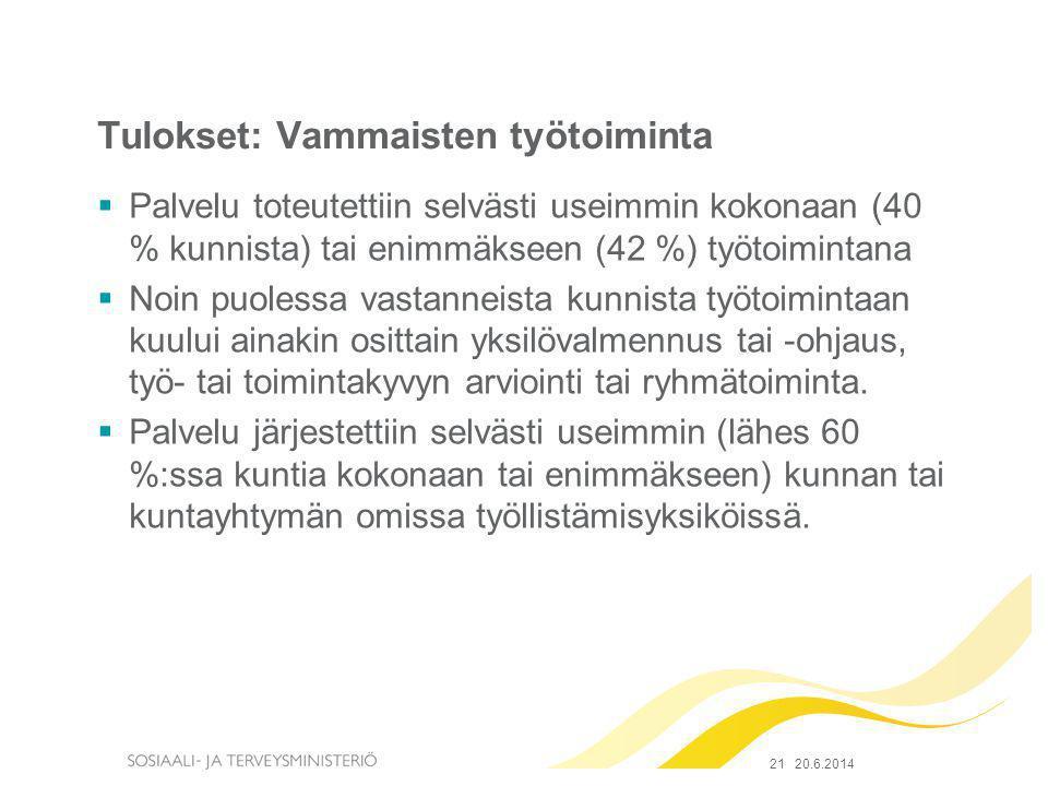 Tulokset: Vammaisten työtoiminta