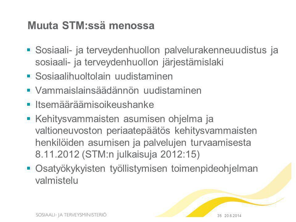 Muuta STM:ssä menossa Sosiaali- ja terveydenhuollon palvelurakenneuudistus ja sosiaali- ja terveydenhuollon järjestämislaki.