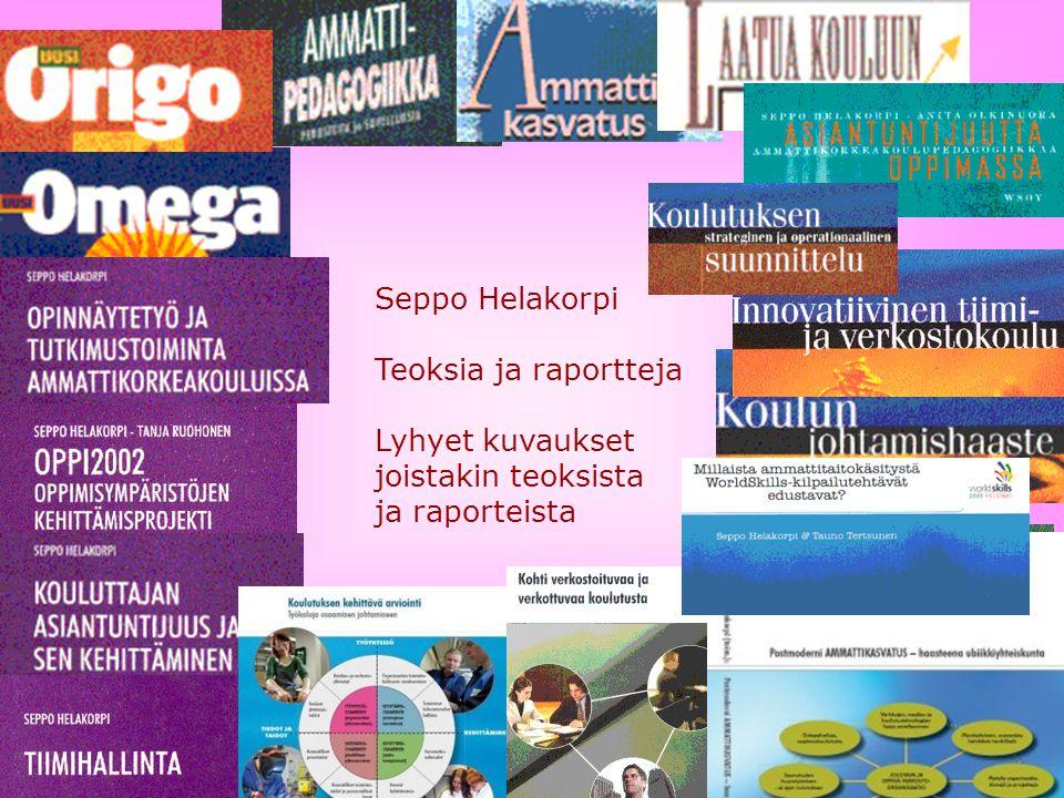 Seppo Helakorpi Teoksia ja raportteja Lyhyet kuvaukset joistakin teoksista ja raporteista