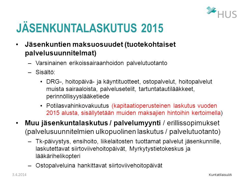 Jäsenkuntalaskutus 2015 Jäsenkuntien maksuosuudet (tuotekohtaiset palvelusuunnitelmat) Varsinainen erikoissairaanhoidon palvelutuotanto.