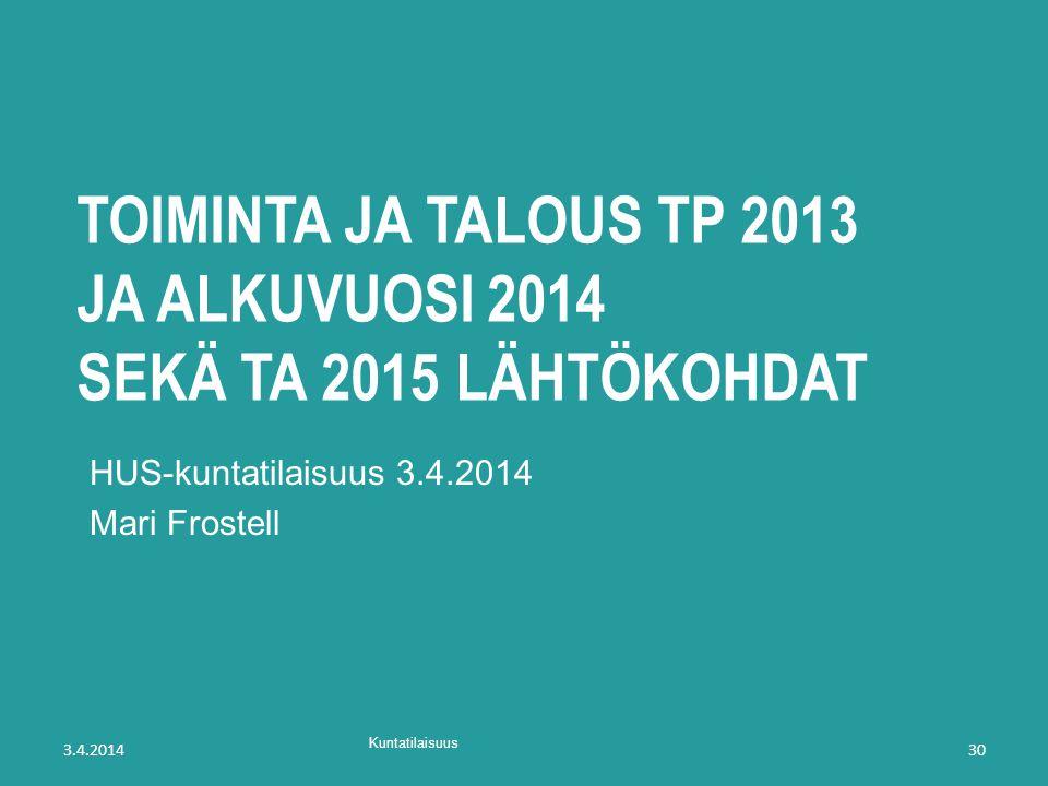 toiminta ja talous TP 2013 ja alkuvuosi 2014 sekä TA 2015 lähtökohdat