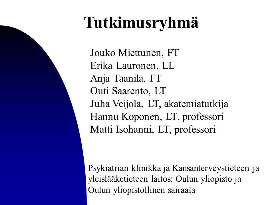 Tutkimusryhmä Jouko Miettunen, FT Erika Lauronen, LL Anja Taanila, FT