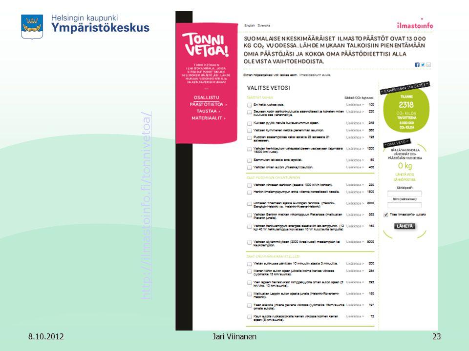 http://ilmastoinfo.fi/tonnivetoa/ 8.10.2012 Jari Viinanen