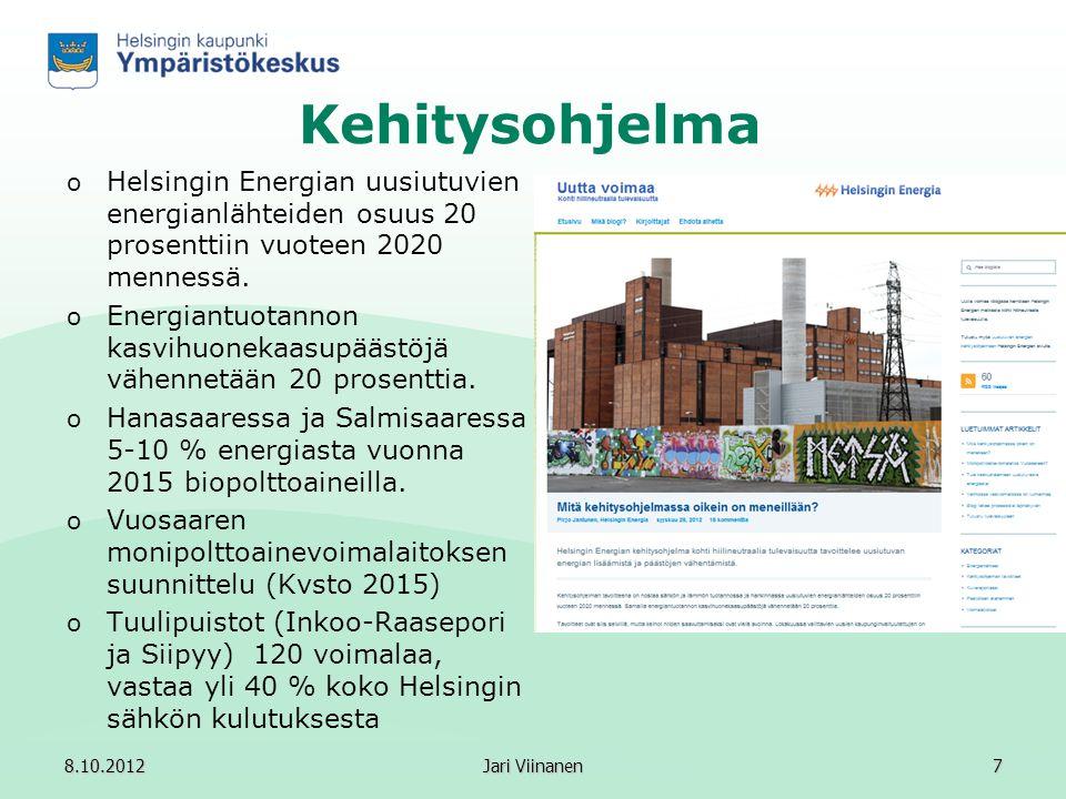 Kehitysohjelma Helsingin Energian uusiutuvien energianlähteiden osuus 20 prosenttiin vuoteen 2020 mennessä.