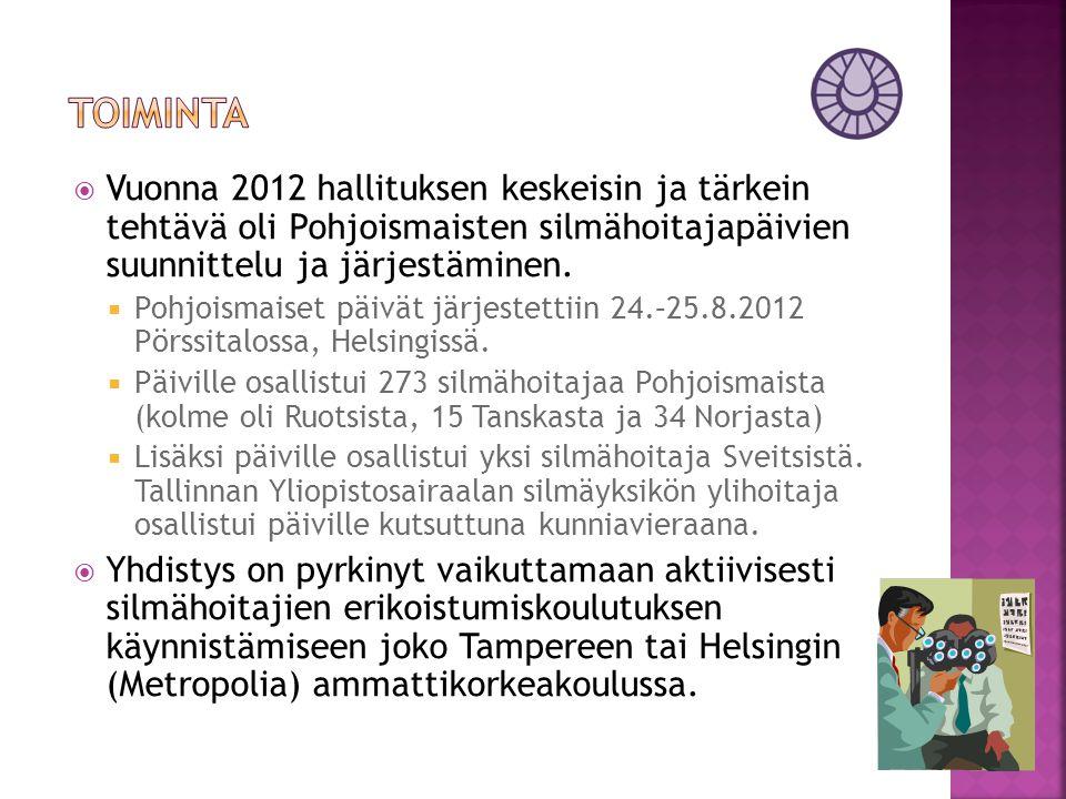 toiminta Vuonna 2012 hallituksen keskeisin ja tärkein tehtävä oli Pohjoismaisten silmähoitajapäivien suunnittelu ja järjestäminen.