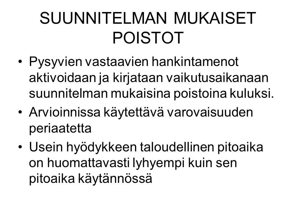 SUUNNITELMAN MUKAISET POISTOT