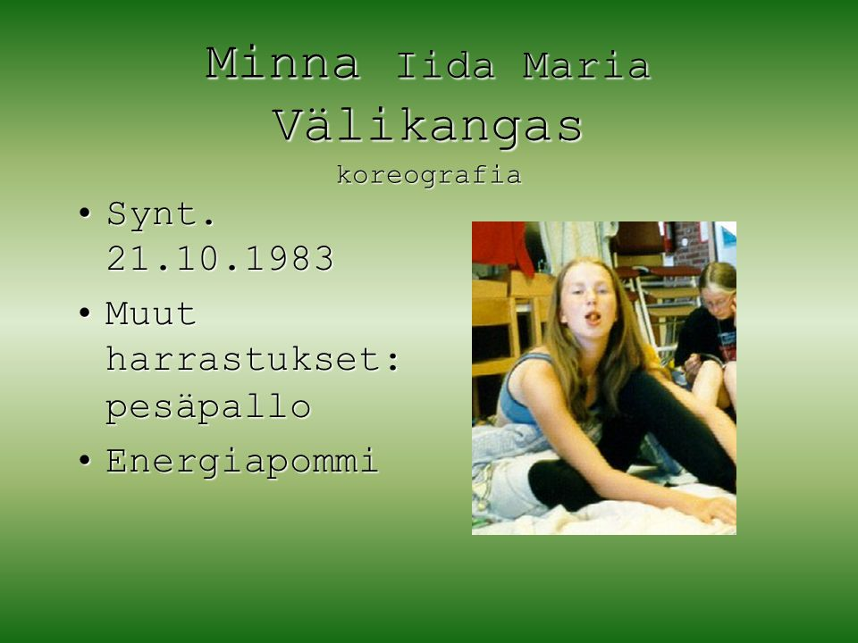 Minna Iida Maria Välikangas koreografia