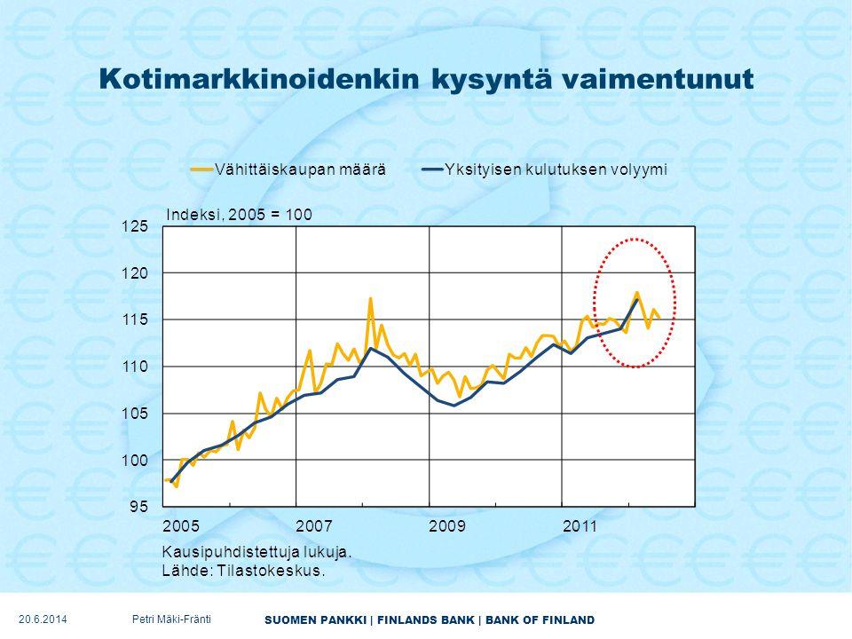 Kotimarkkinoidenkin kysyntä vaimentunut