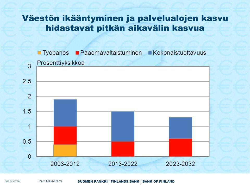 Väestön ikääntyminen ja palvelualojen kasvu hidastavat pitkän aikavälin kasvua