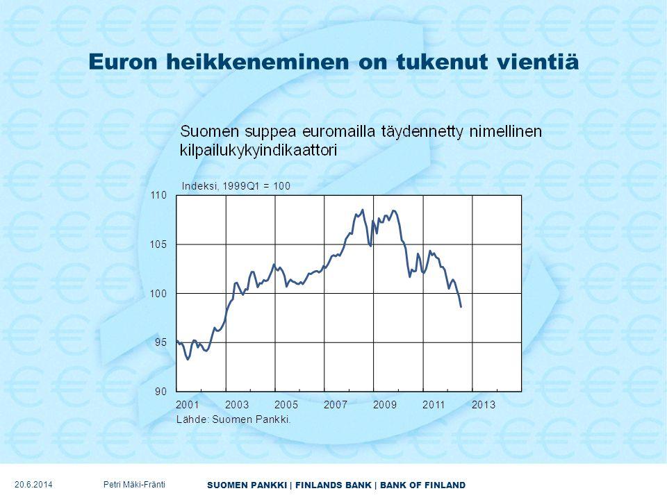 Euron heikkeneminen on tukenut vientiä