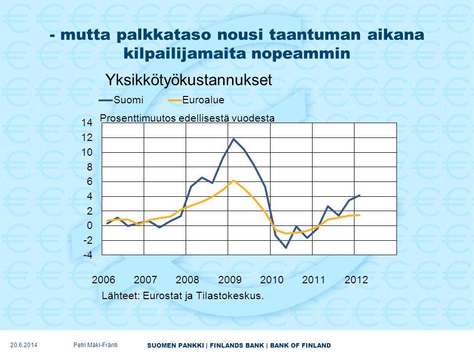 - mutta palkkataso nousi taantuman aikana kilpailijamaita nopeammin
